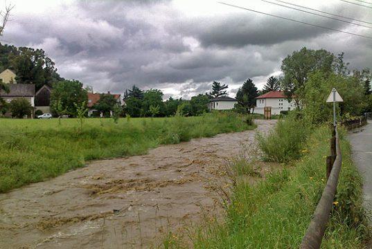 Hochwasser führender Schöckelbach