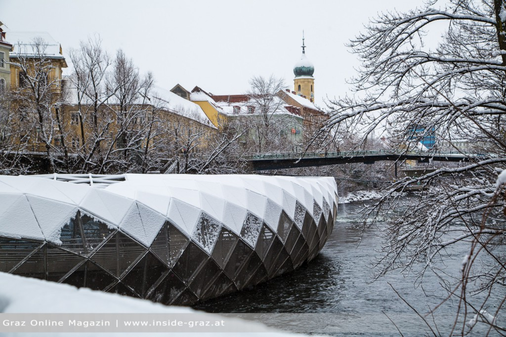 Murinsel Schnee Graz Winter
