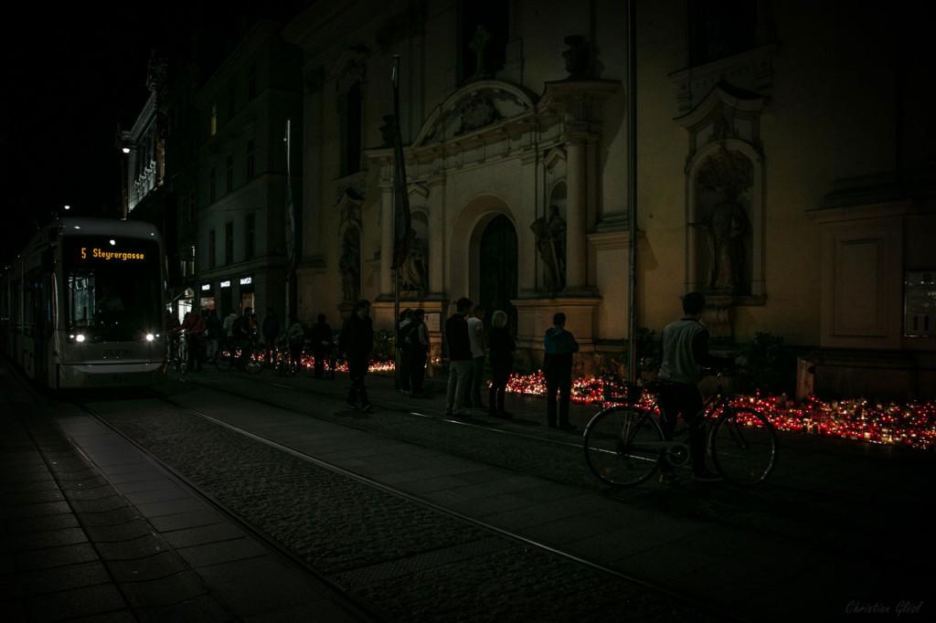 Lichtermeer Grazer Herrengasse Straßenbahn
