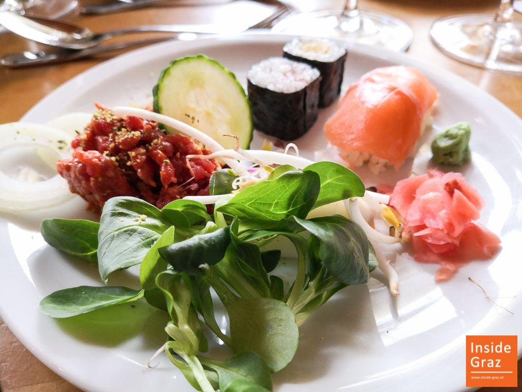 Beef Tartare und Sushi