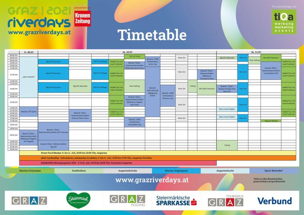 Graz River Days Timetable 2021