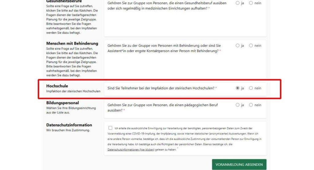 Anmeldung zur Impfaktion der steirischen Hochschulen